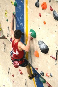 Nat Hudspith climbing well at Youth climbing competition round 3