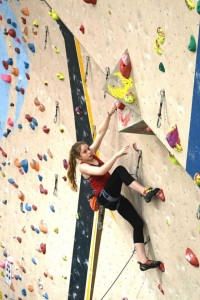 Lucy on lead in the Youth Climbing Competition round 3